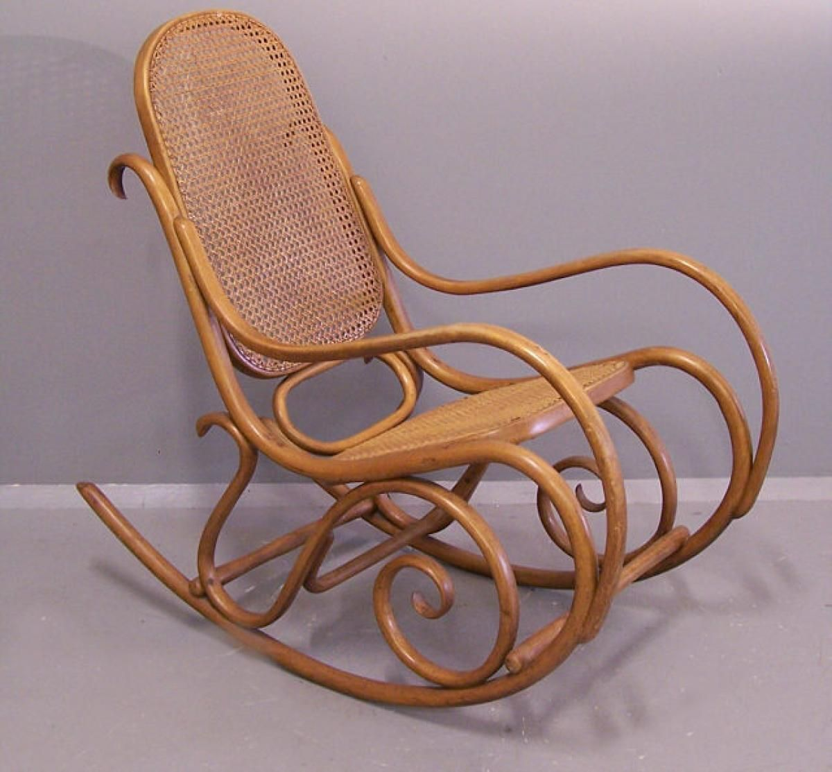 Original white painted bentwood rocking chair is no longer available - Gebruder Thonet Bentwood Rocking Chair Number 7025