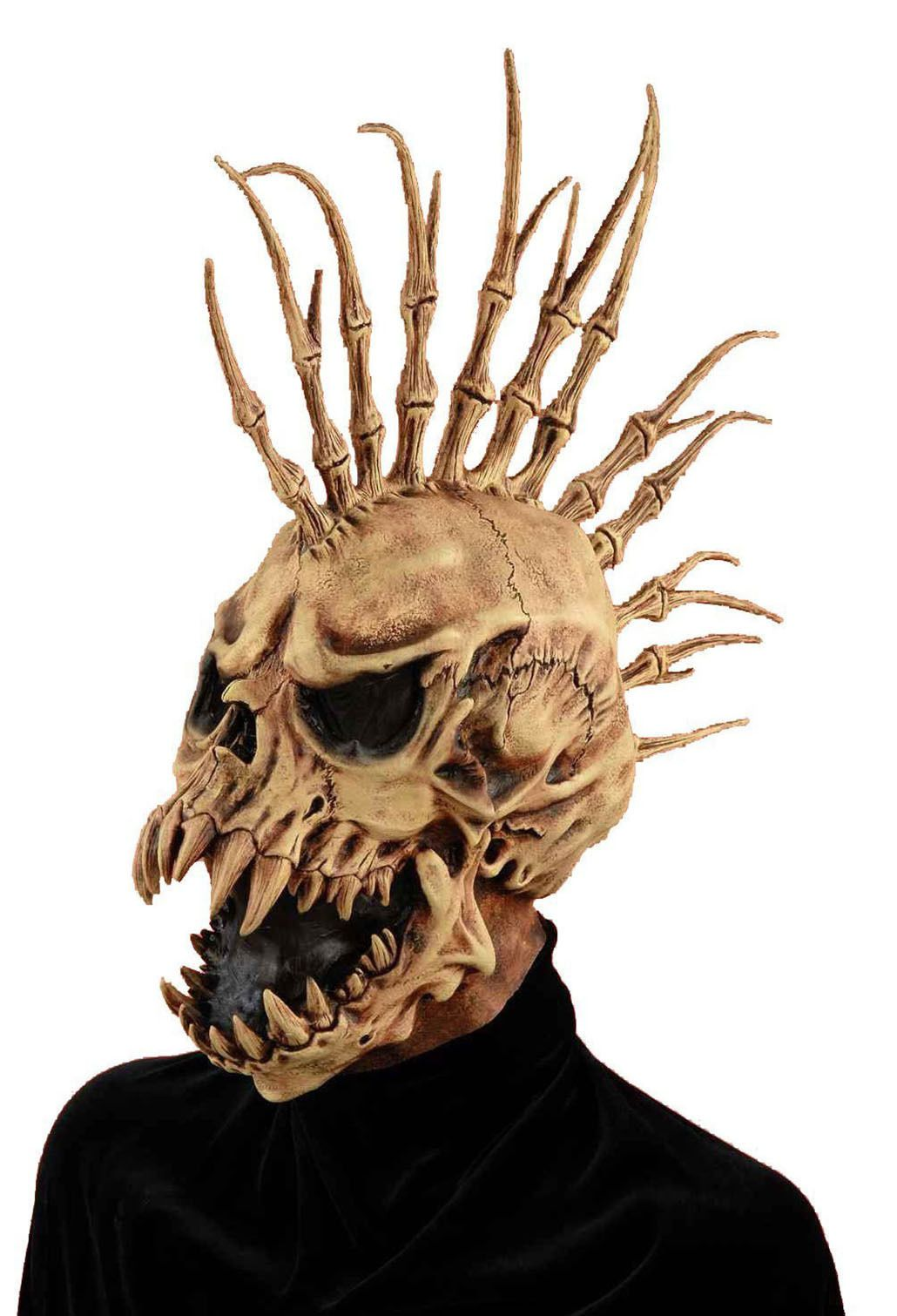 Halloween Scary Sinister Fin Skull Mask Monster Horror Costume ...