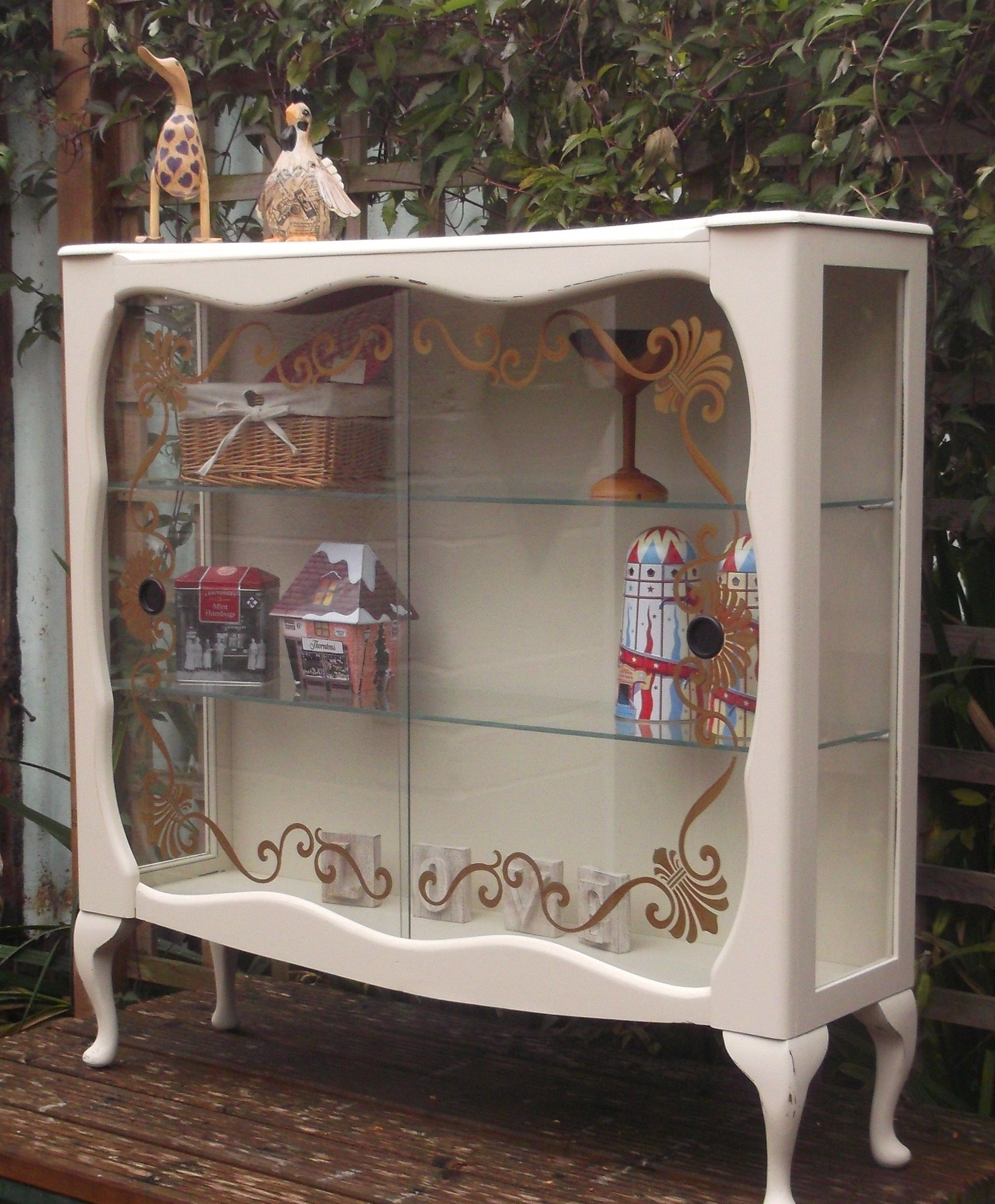 Lovely 1930's glass display cabinet on queen Anne legs | Projects ...