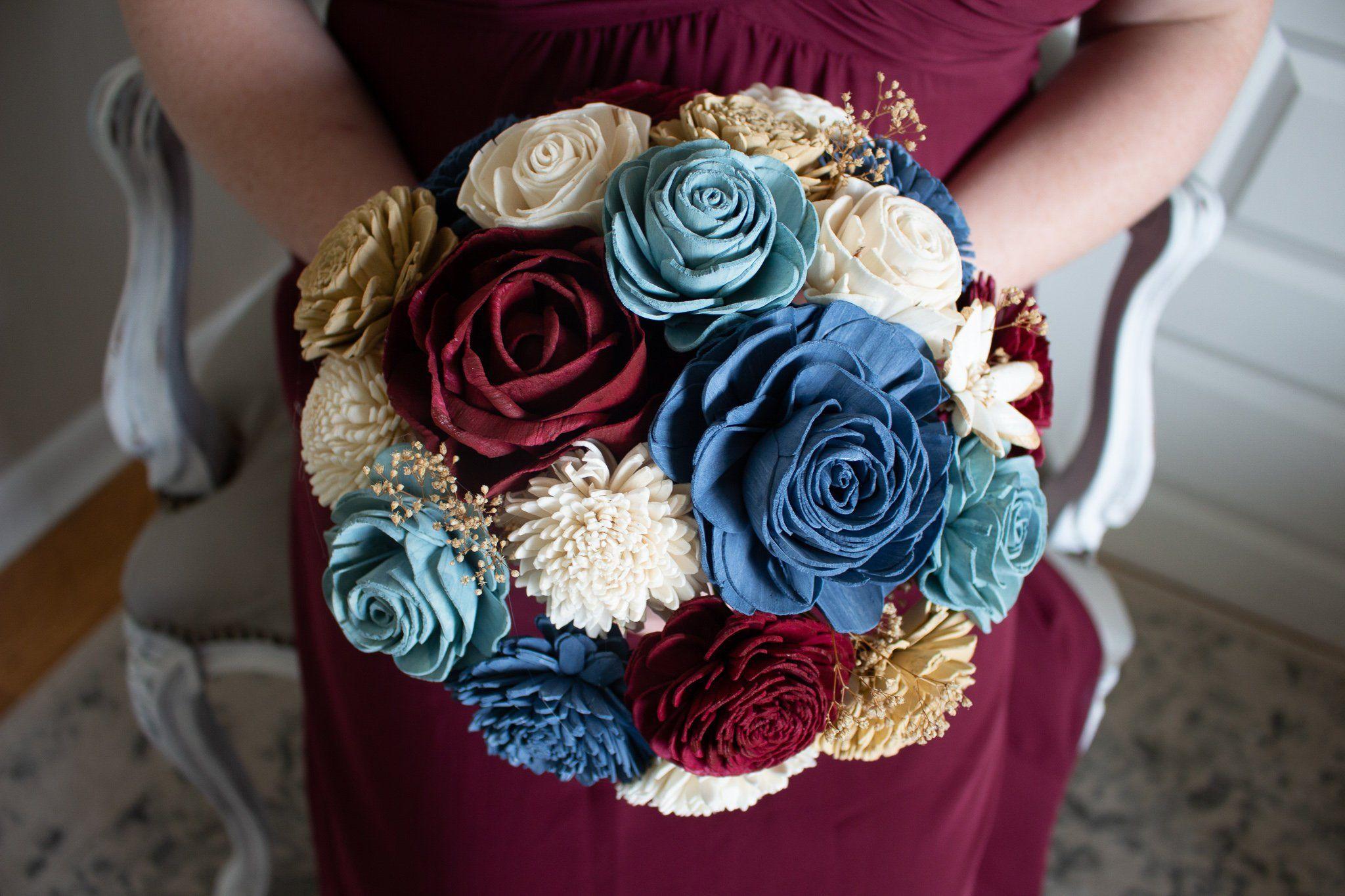Heartland blue and burgundy bouquet blue flowers bouquet