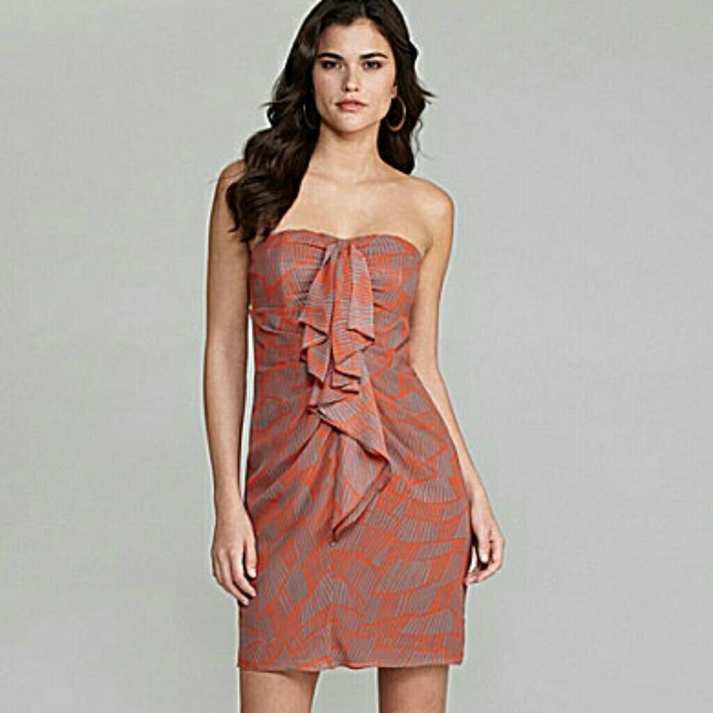 Sexy Strapless Dress, Gray And Coral, Ruffle Front