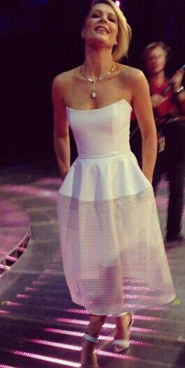 Natalie Bassingthwaighte wears Nicholas dress. Live show 3