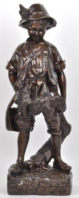 De jonge jageru201d Een beeld van bruingepatineerd brons Bronze - brunnen la sculptura