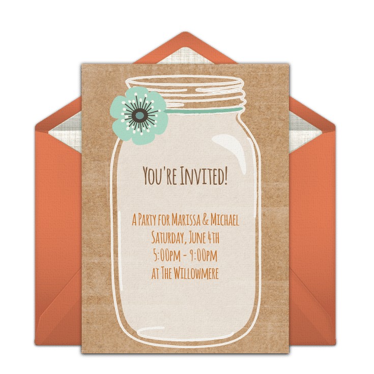 Send A Free Printable Engagement Party Invitation Rustic Mason Jar Invite From Punchbowl