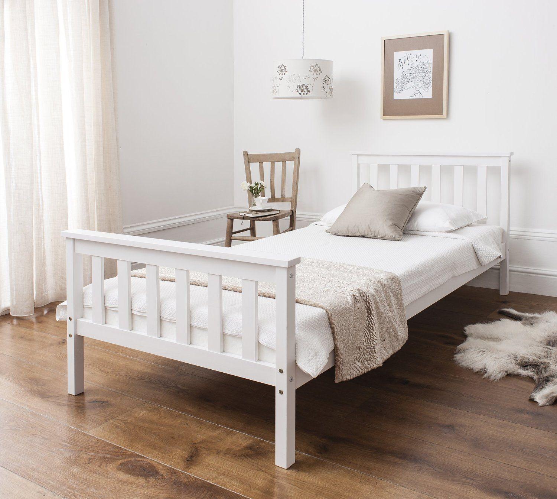 CLP weißes Massivholz Bett CAMA im Landhaus-Stil inkl. Lattenrost, Breite: 90x200cm weiß: Amazon.de: Küche & Haushalt