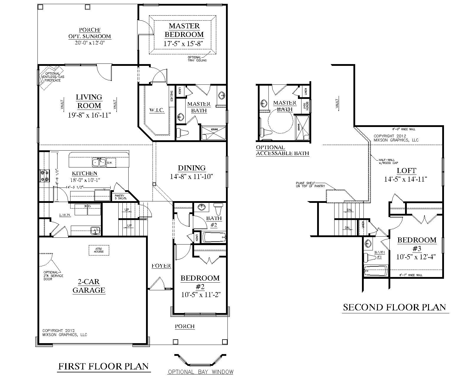 House plan 2224 kingstree floor plan traditional 1 1 2 for Living room floor plan