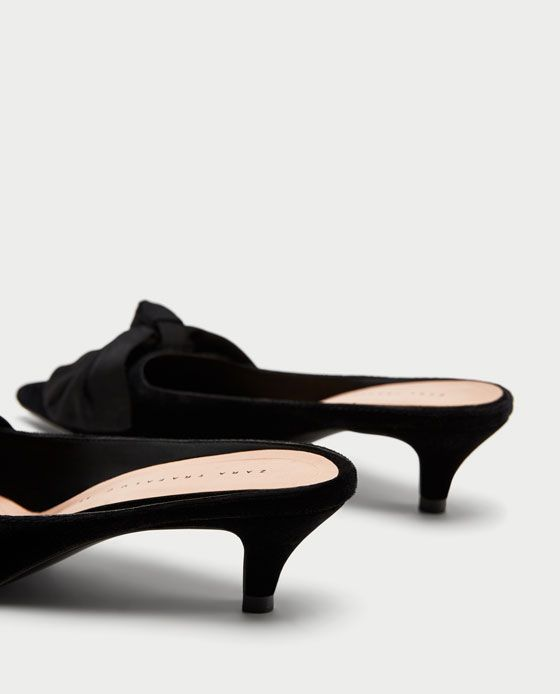 Image 4 Of Kitten Heel Mules With Bow From Zara Kitten Heels Heels Heeled Mules