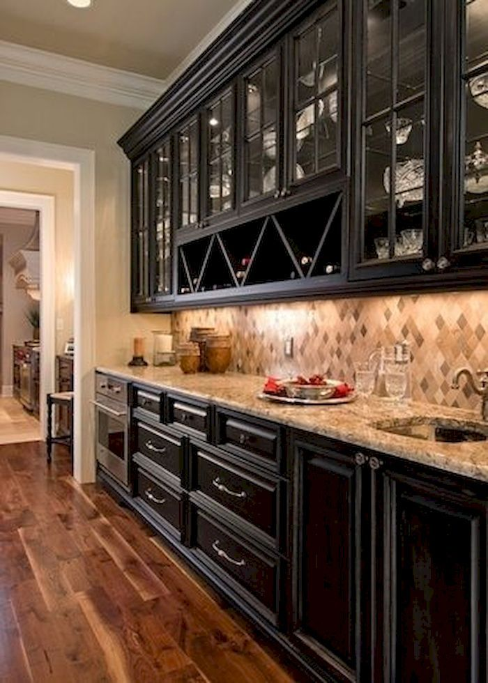 11 Genius Small Kitchen Ideas With SkyHigh Cabinets - Kitchen cabinet design, Black kitchen cabinets, Dark kitchen, Kitchen flooring, Bars for home, Black kitchens - Small kitchen area can be difficult sometimes where you will get troublesome to place your appliance and other whole kitchen …