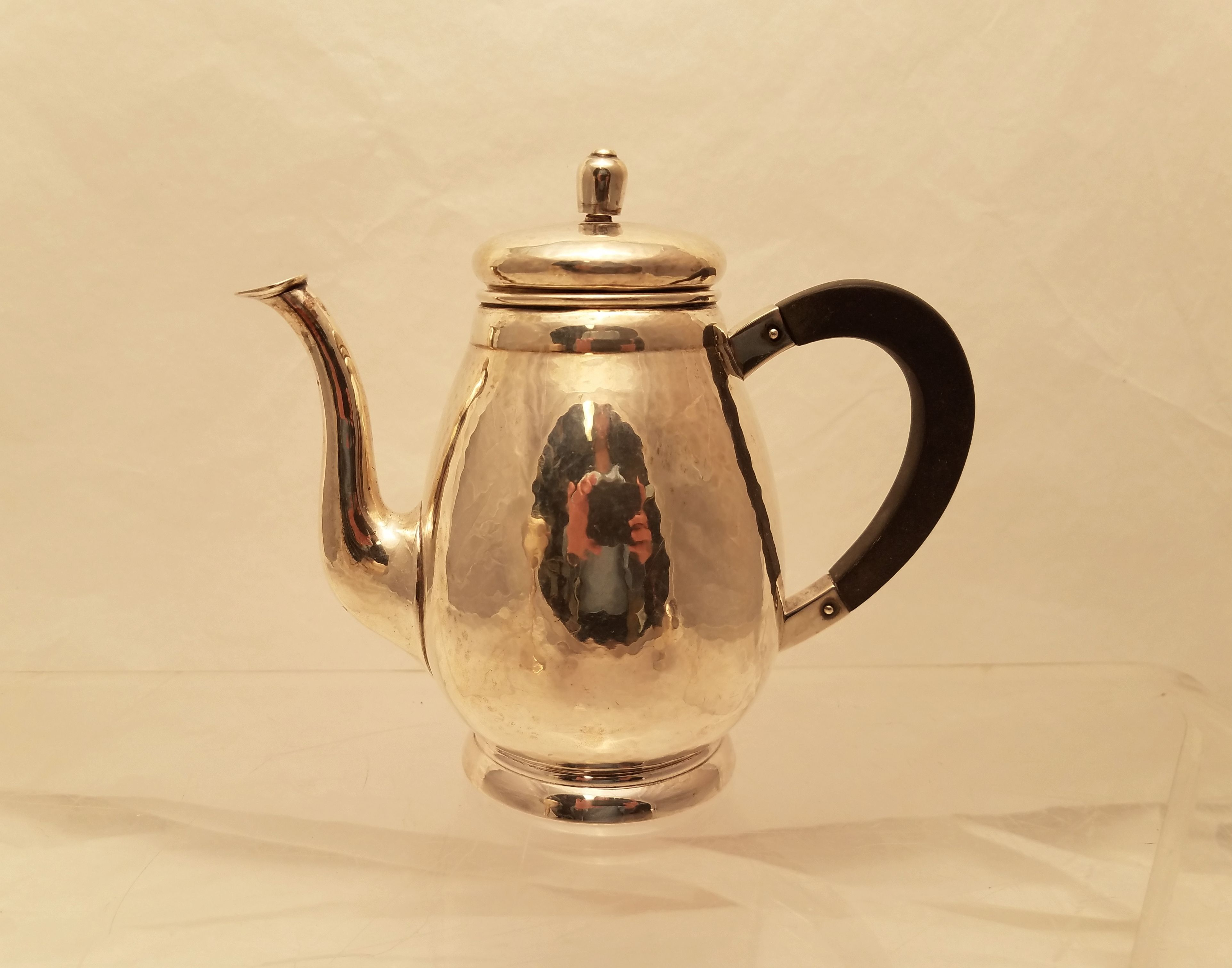 Beautiful Bremer Werkstätten Silver 825 Hand Hammered Tea Pot Made