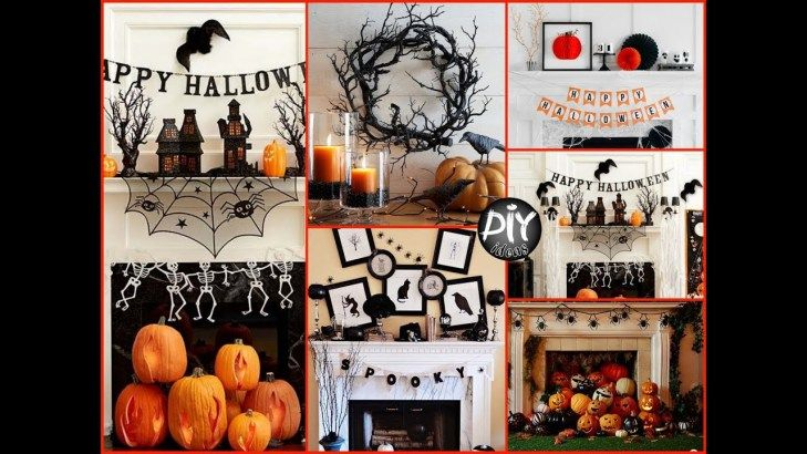 DIY Halloween Mantel Decorating Ideas - Fall Room Decor 1 Black