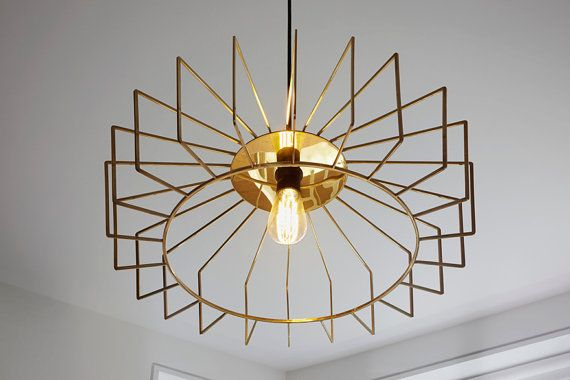 El montovano brass modern chandelier pendant light in polished brass using edison led filament bulb