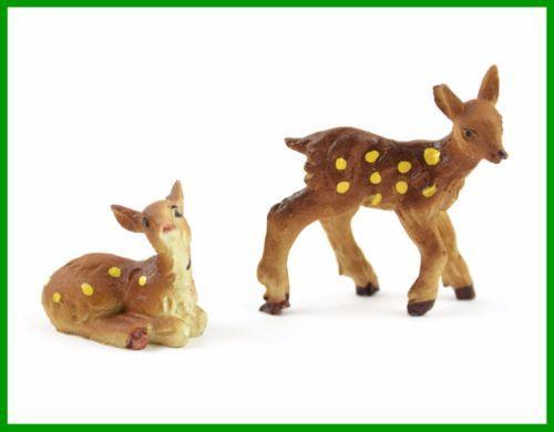 6-pack Cute Resin Miniature Baby Deer Sleeping Figurines Ornaments Crafts