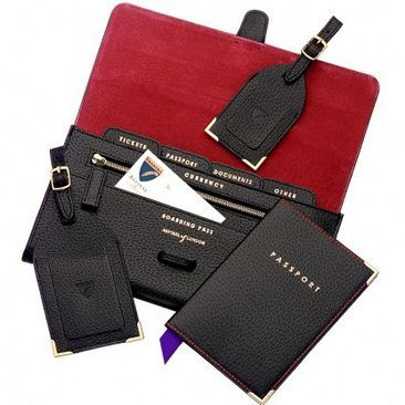 Classic Plain Travel Collection in Black Jewel & Red - Aspinal of London