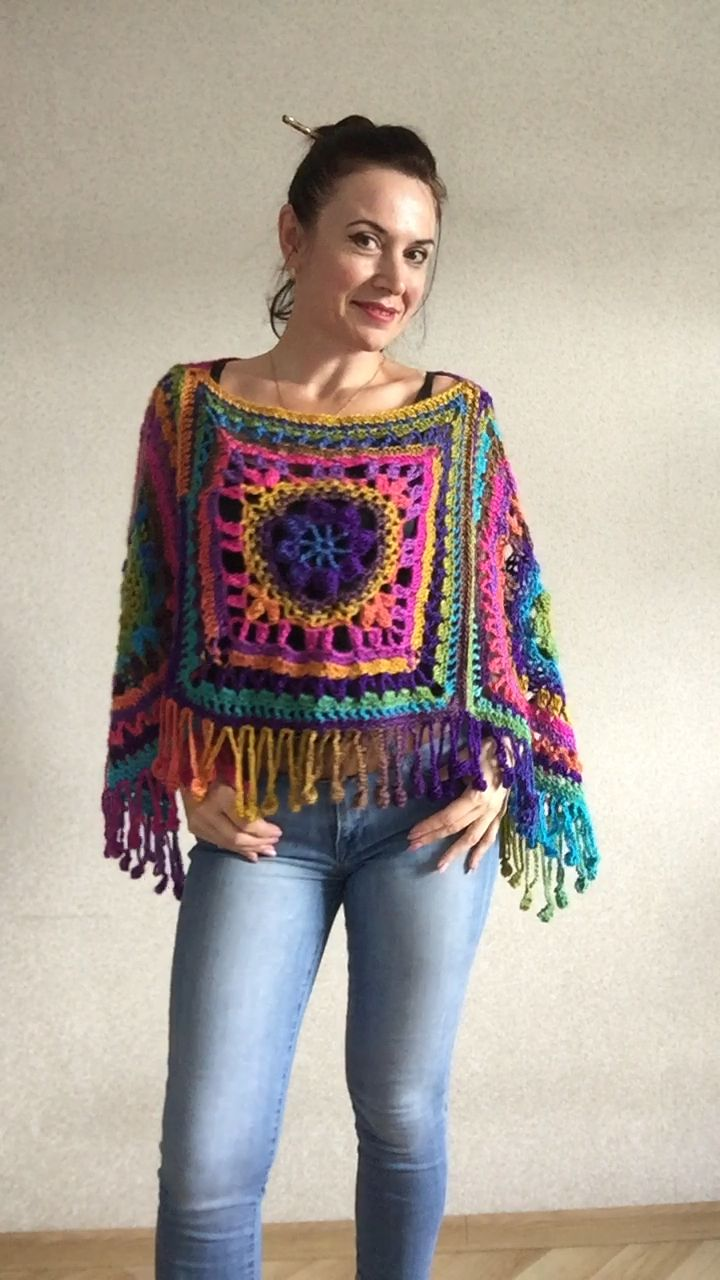 Rainbow Crochet Poncho Fringe Plus size Festival poncho | Etsy