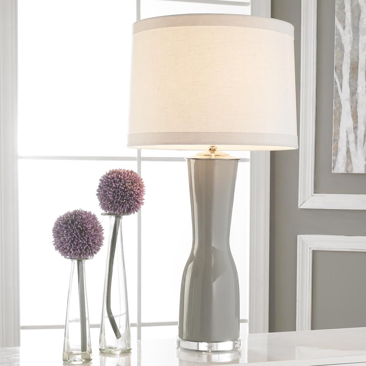 Gray Table Lamps Fair Gray Matters Ceramic Table Lamp A Sophisticated Hourglass Shape Design Decoration