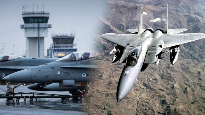 Yhdysvaltojen F-15C-hävittäjät (oik.) saapuvat harjoittelemaan Rissalan tukikohtaan.