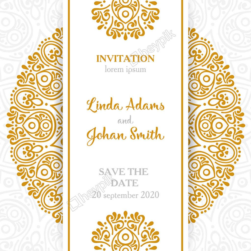 Vintage Style Mandala Ornament Pattern Wedding Invitation