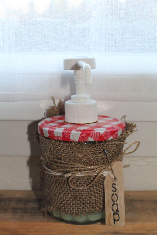 Distributeur à savon 100 % upcycling / Distributor cremates and soap with jar of jam : Accessoires de maison par brocmeg