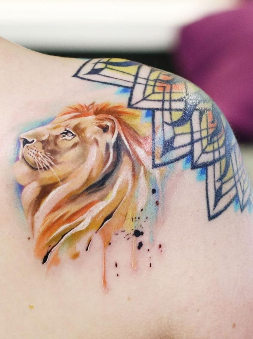 f012d7b047ccf 50 Eye-Catching Lion Tattoos That'll Make You Want To Get Inked ...