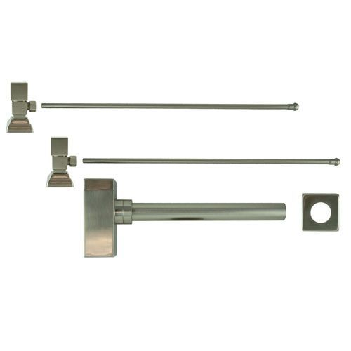 Brushed Nickel Square Handles Lavatory Supply Kit with Trap