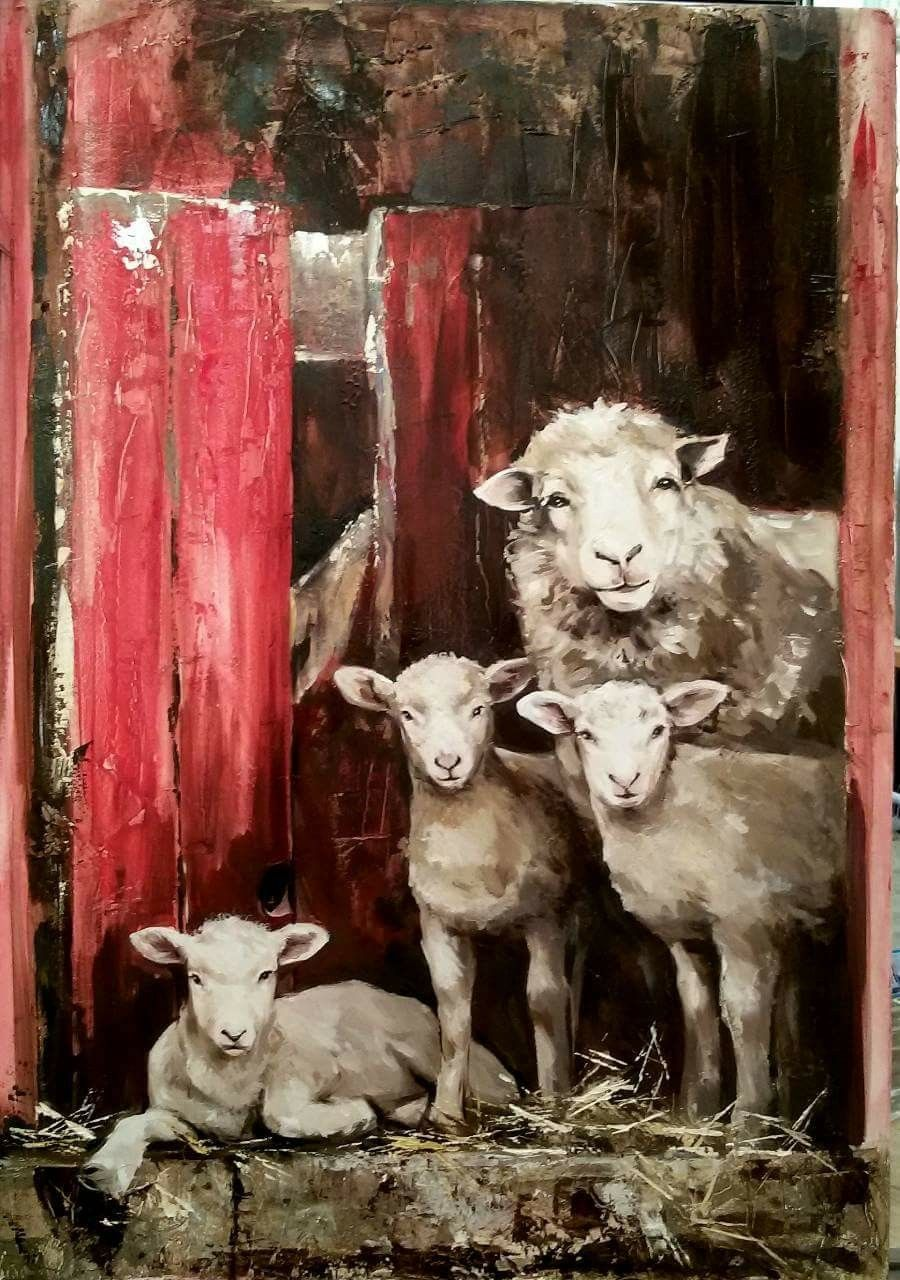 Pin By Petkanska On Blgariya V Kartini Animal Paintings Sheep Paintings Sheep Art