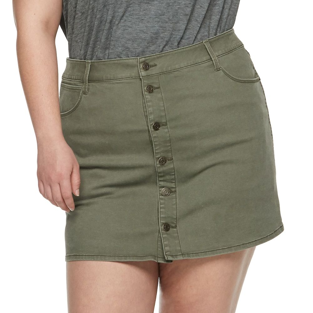 2cc81da002 Juniors' Plus Size Mudd® Button Front Distressed Twill Skirt, Teens, Size: