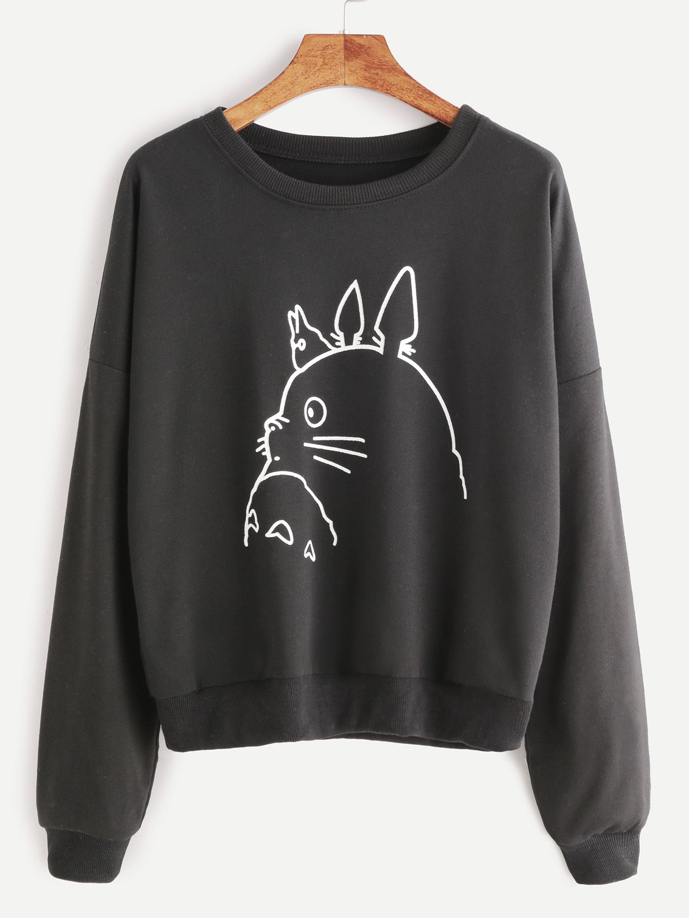 sweatshirt cartoon druck drop schulter-schwarz - german