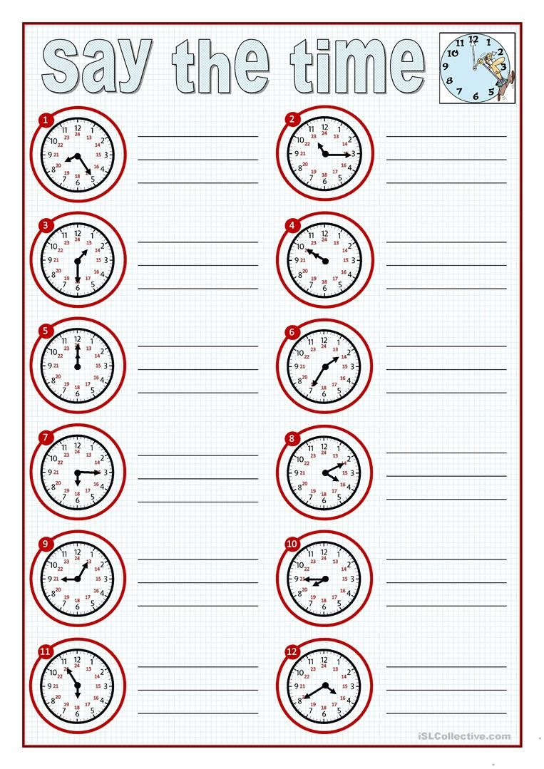 say the time worksheet free esl printable worksheets made by teachers kindergarten. Black Bedroom Furniture Sets. Home Design Ideas