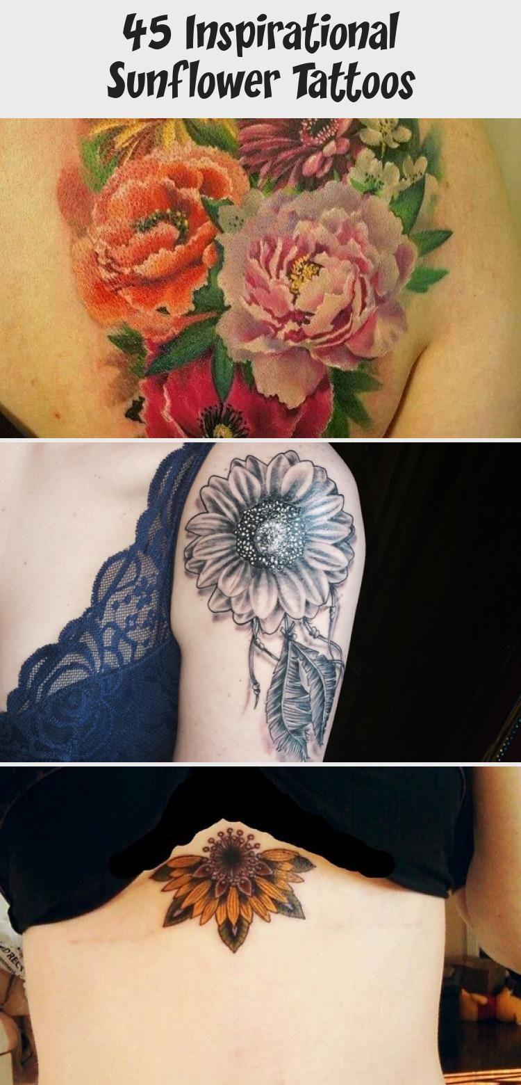 Photo of sunflower tattoo – 45 Inspirational Sunflower Tattoos #sunflowertattoosColor #Wi…