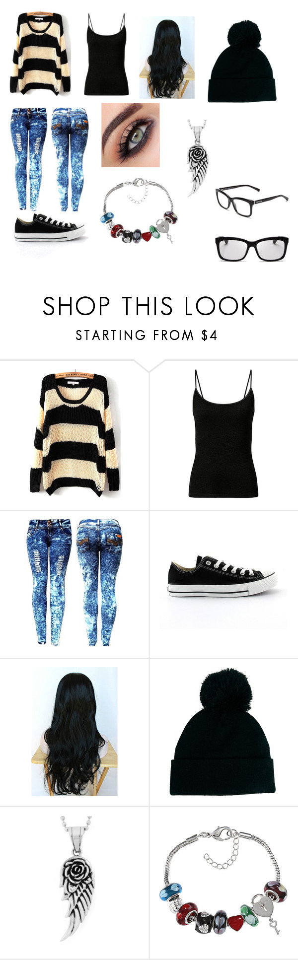 """Untitled #723"" by samantha-myers-2 ❤ liked on Polyvore featuring Converse, ASOS, West Coast Jewelry, La Preciosa and Bobbi Brown Cosmetics"