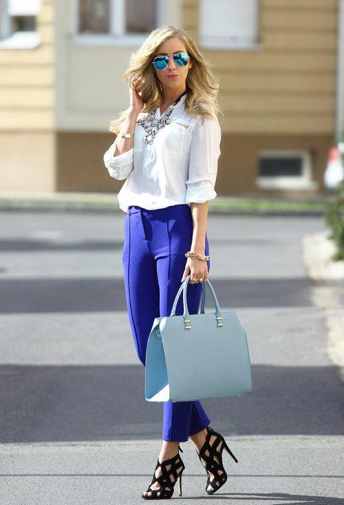 Outfit De Oficina Moda Pantalones Azul Electrico Como Combinar Ropa Pantalon Azul