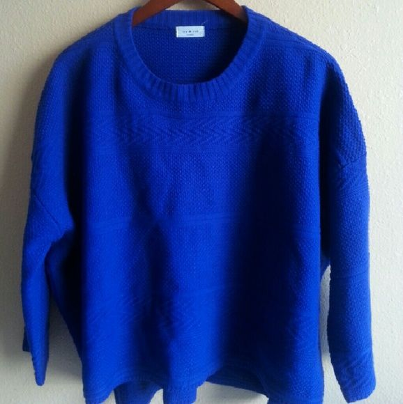 Royal Blue Oversized Sweater | On the side, The o'jays and Scoop neck