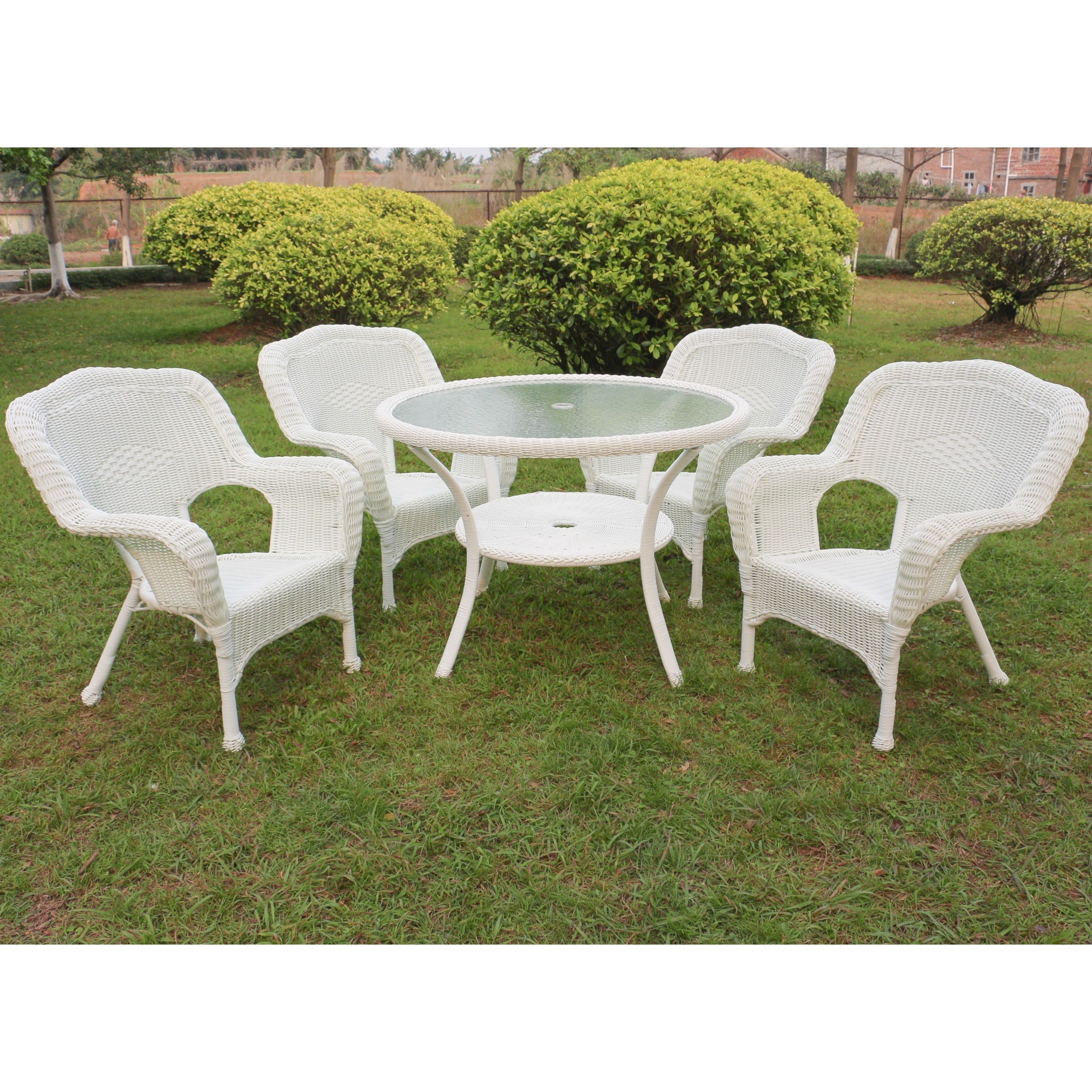 International Caravan Maui Resin Wick Outdoor Dining Set Of 5 White Size Piece Sets Patio Furniture