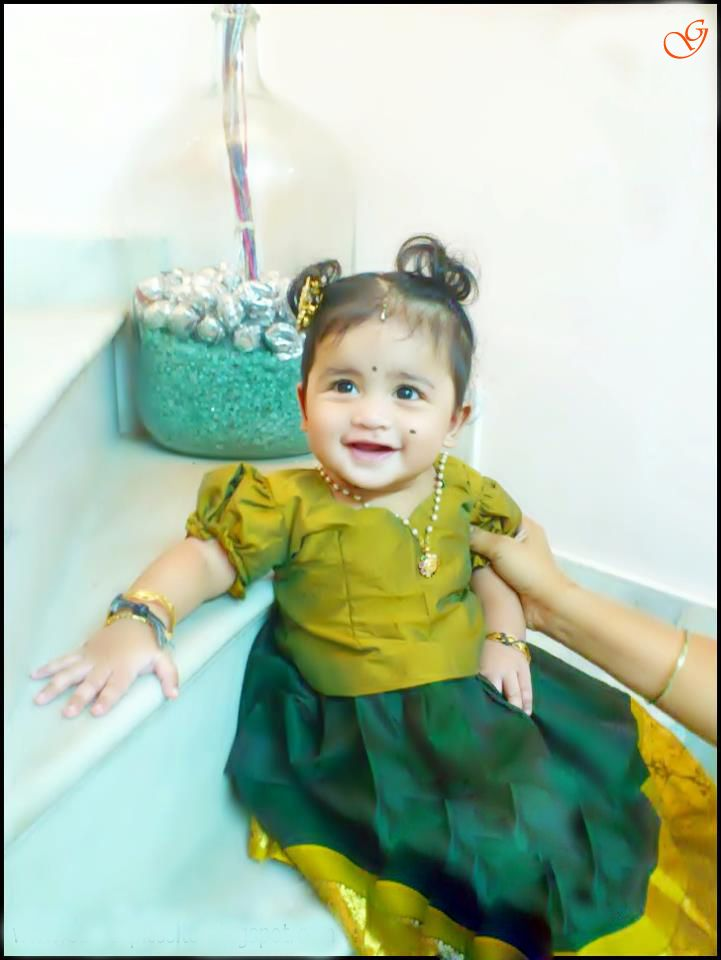 Babies Pictures Indian Girl In Pattu Pavada And Blouse