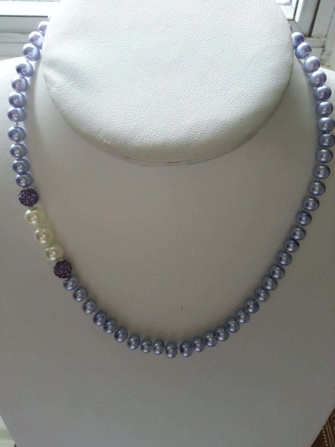 Lilac/Lavender/Purple with Purple and White detail Knotted Glass Pearl Necklace by SparklingYouDesigns on Etsy