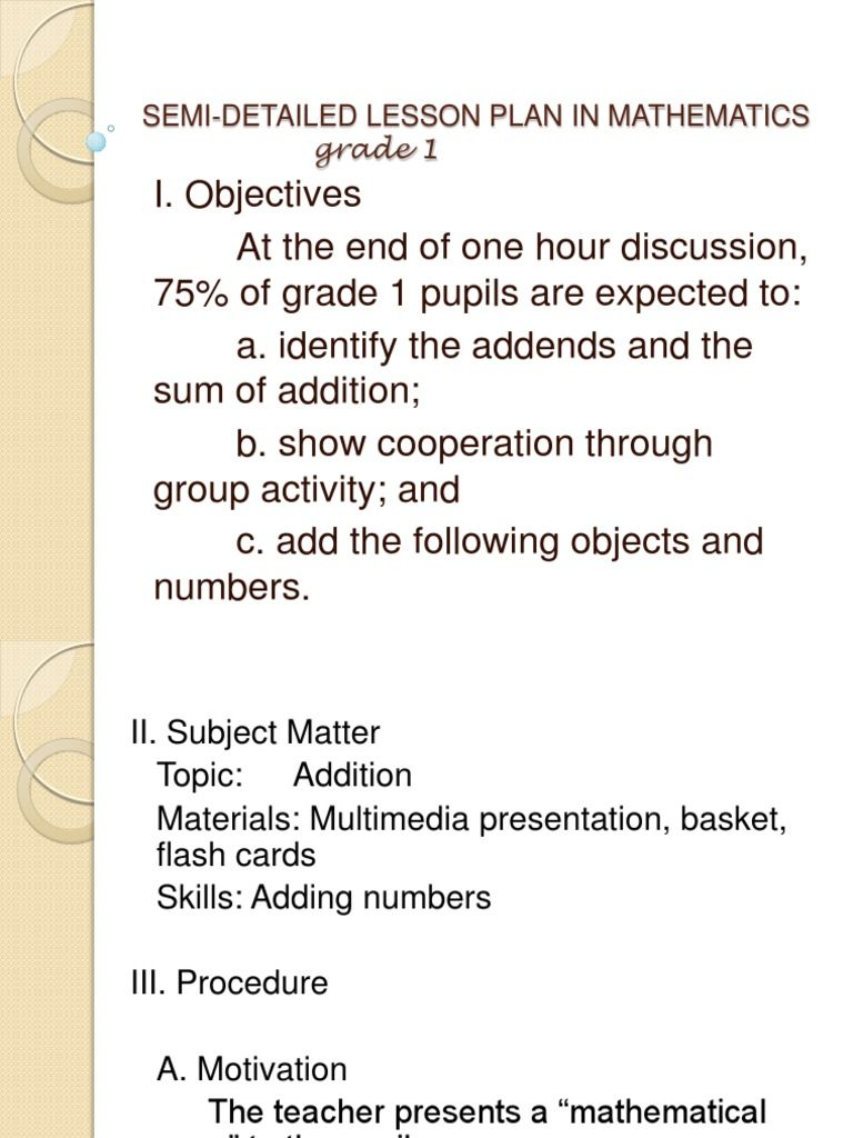 Lesson Plan In Math 1 Math Lesson Plans Math Lesson Plans Elementary Kindergarten Math Lesson Plans Addition within lesson plan for