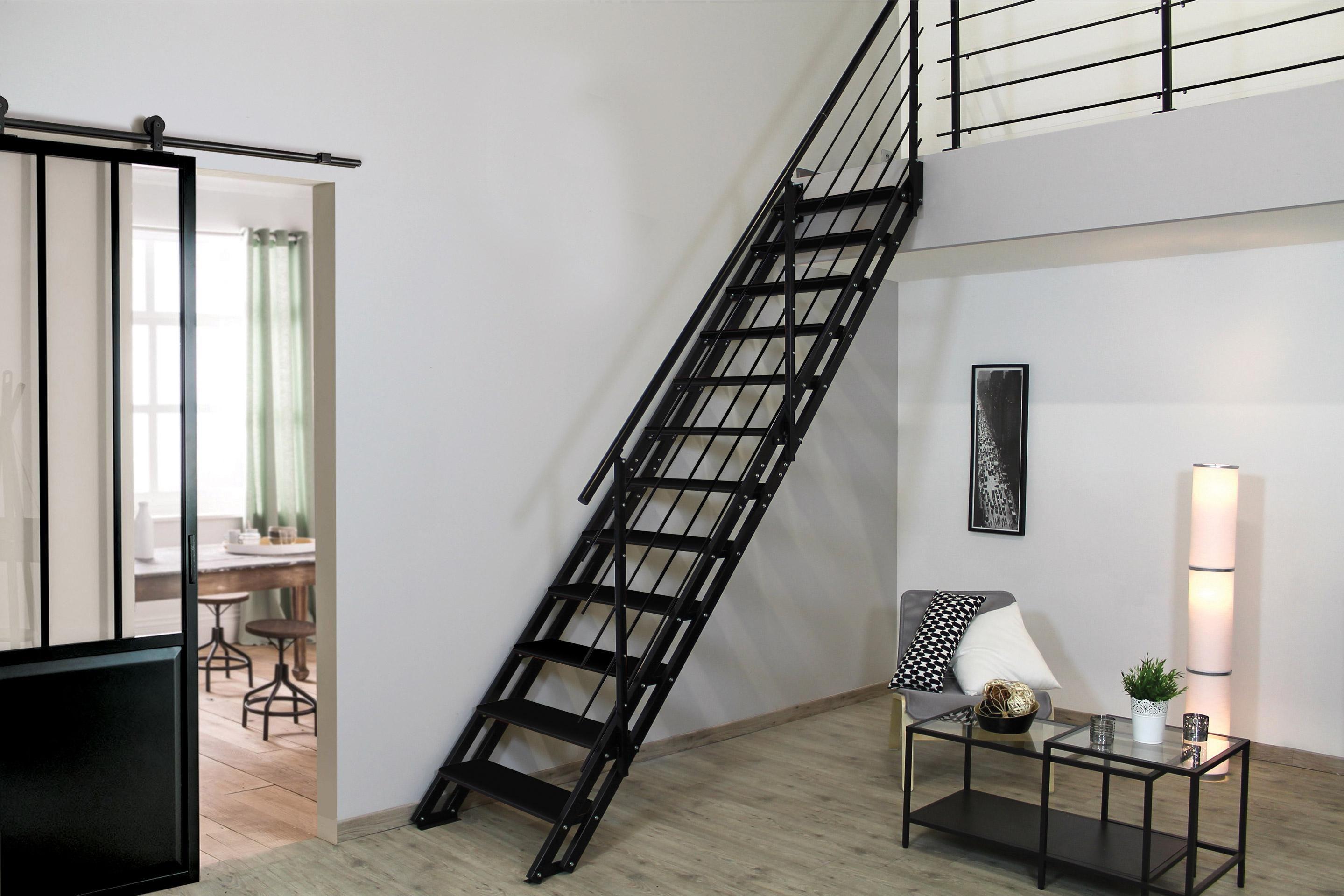 Escalier Modulaire Pas Cher escalier droit acier noir escavario 12 marches acier, l.90