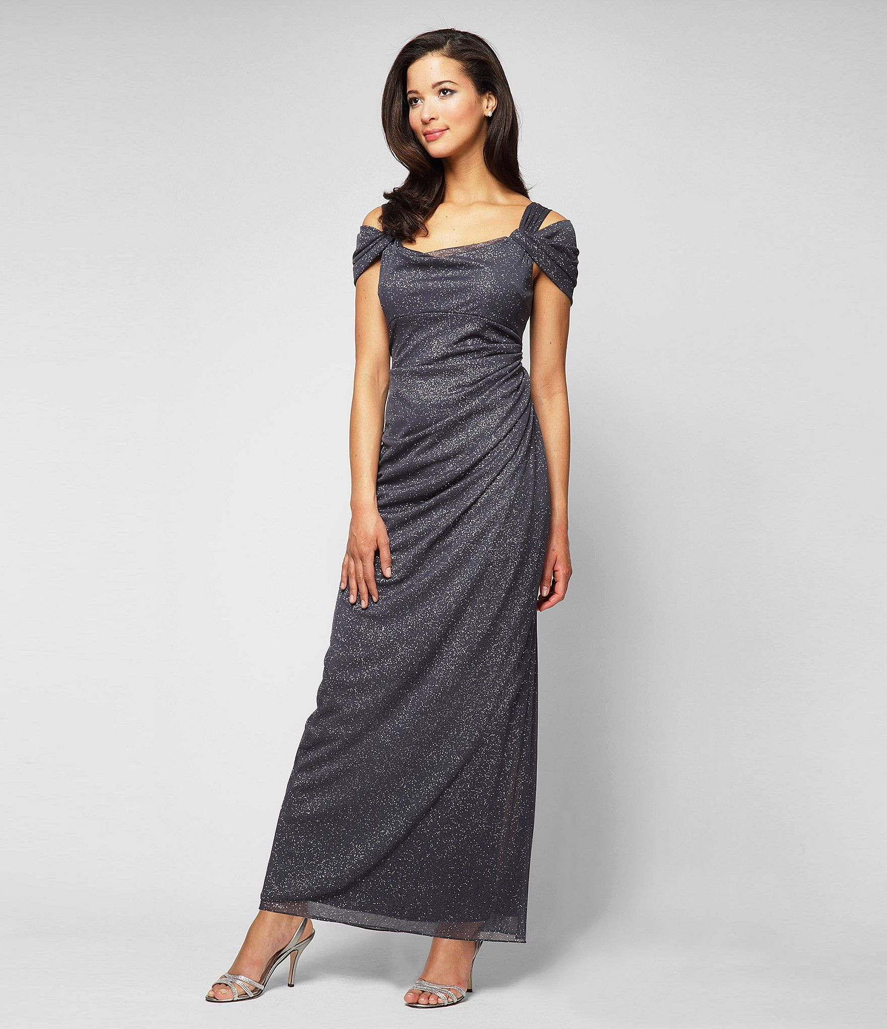 Alex Evenings Petite Exposed-Shoulder Glitter Mesh Gown   Dillards ...