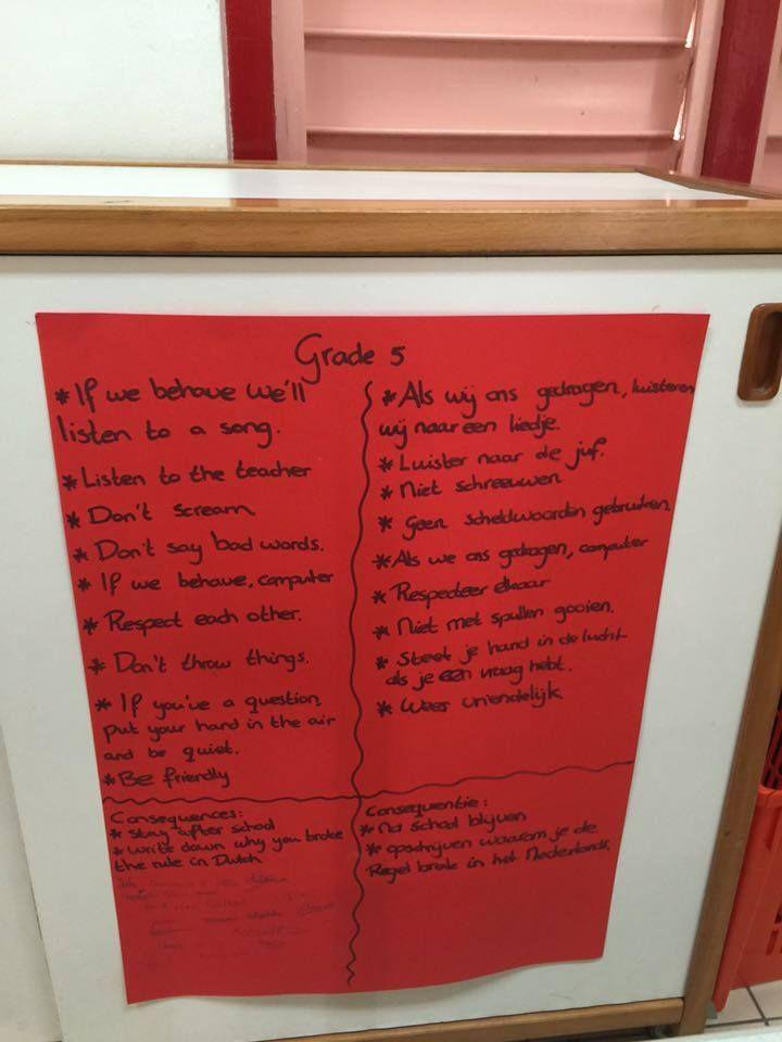 Eigen klassenregels gemaakt met de kinderen in het Nederlands. Alle kinderen hebben er een handtekening onder gezet.