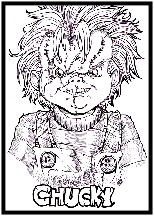 Return Of Chucky By Kim San Png 600 840 Coloring Book Art Chucky Drawing Scary Drawings