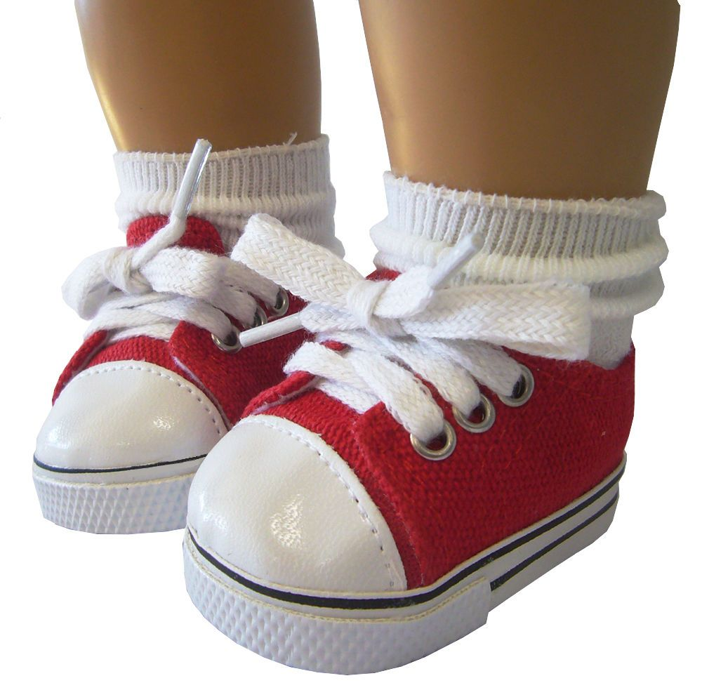 """PATRIOTIC Red Shoes /& Rosebud Socks for 18/"""" American Girl Doll Clothes"""