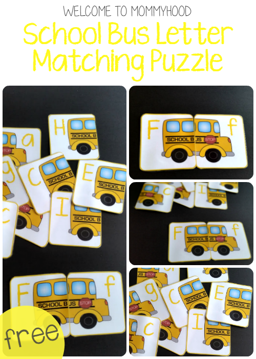 Free school bus letter matching printables in English and