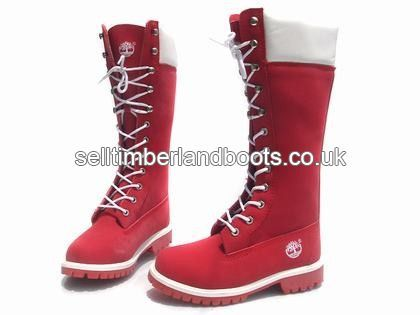 Authentic Women Timberland 14 Inch Boots Red White Outlet UK