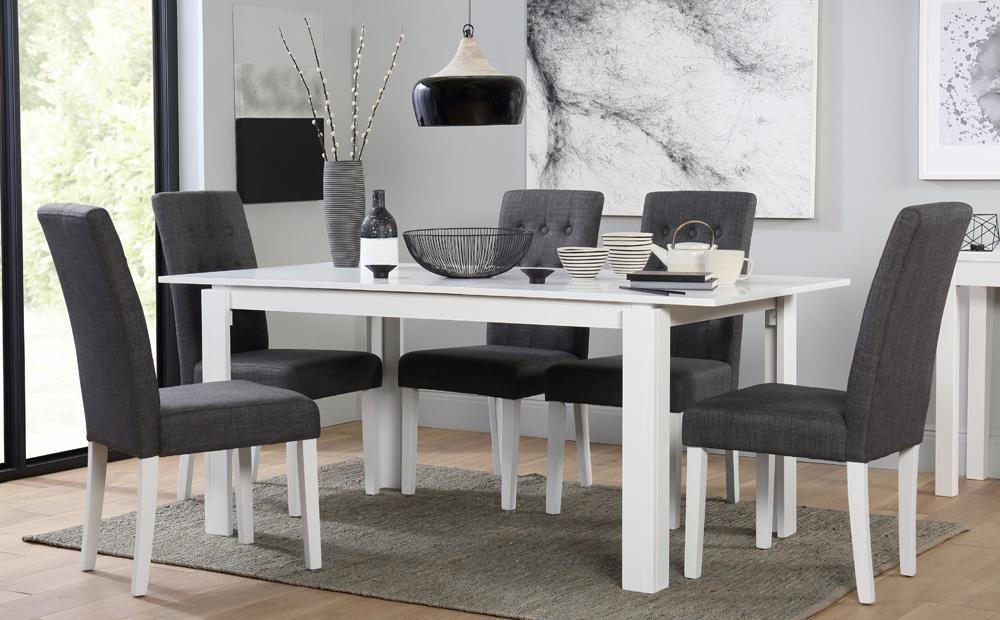 Aspen white extending dining table with 6 regent slate