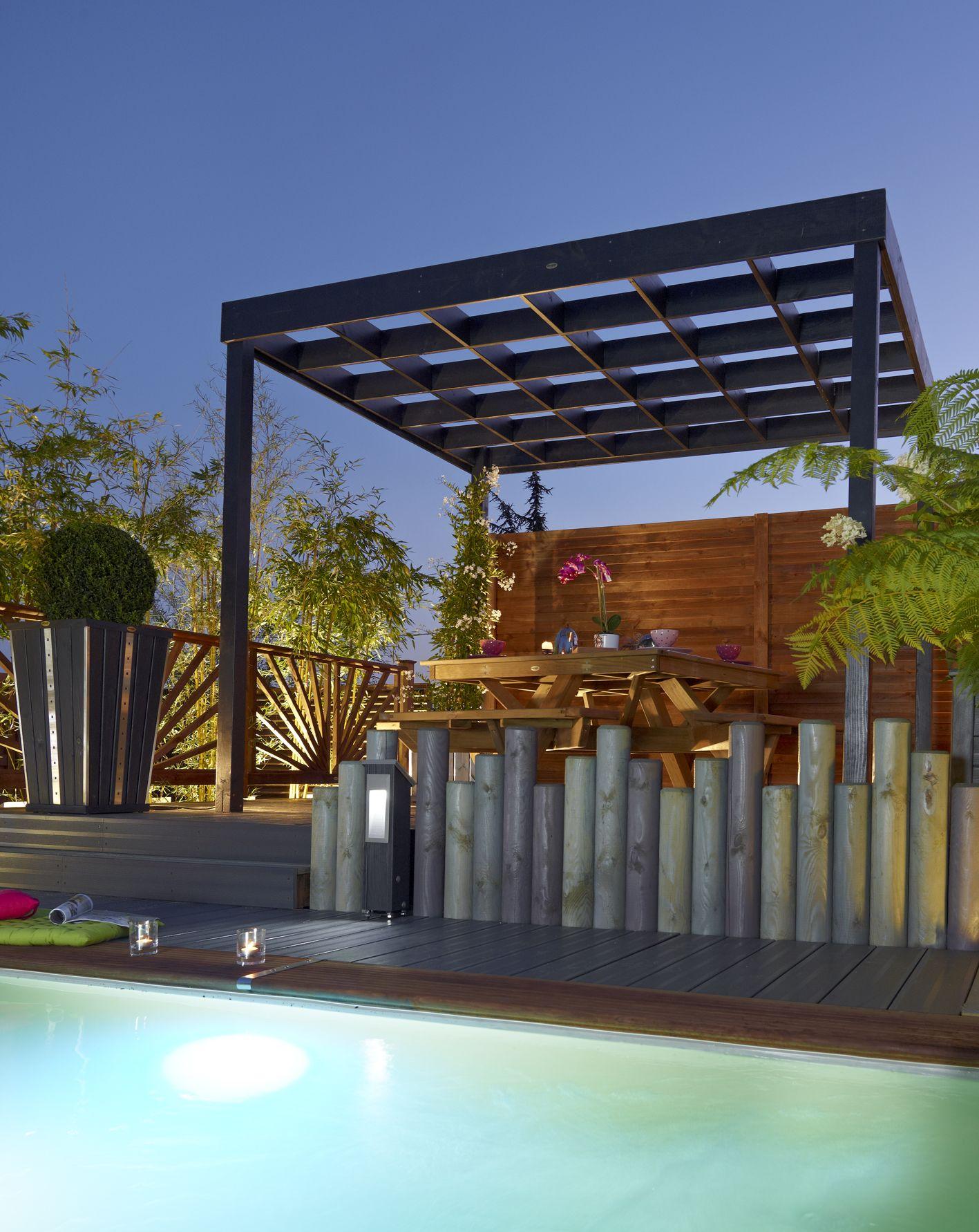 pergola esterel lasur e gris anthracite bois durapin. Black Bedroom Furniture Sets. Home Design Ideas