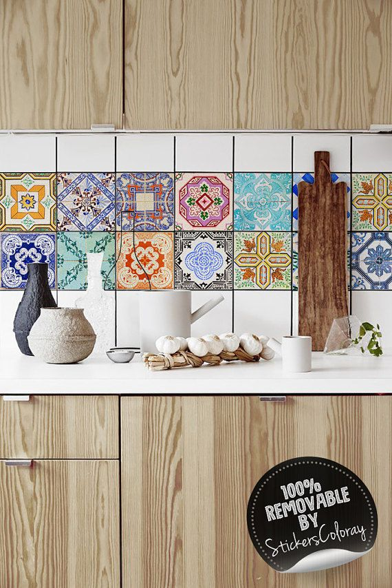 Wunderbar Traditional Portuguese Tiles, Azulejo Tile Stickers, PACK OF 24, Lisbon,  Removable Tile Decal, Backsplash Decals, Ornamental #6T