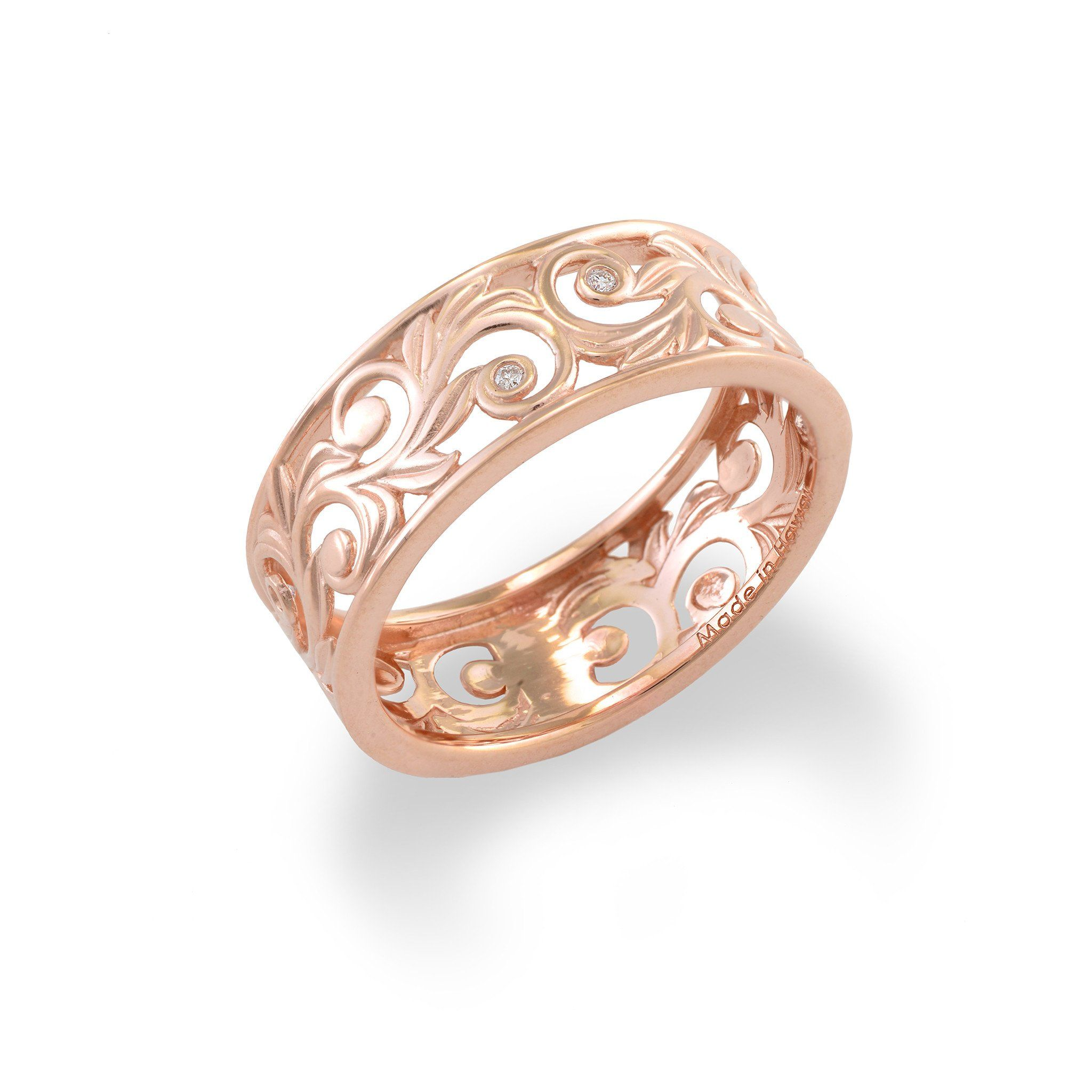 Hawaiian Heirloom Scroll 8mm Ring with Diamonds in 14K Rose Gold