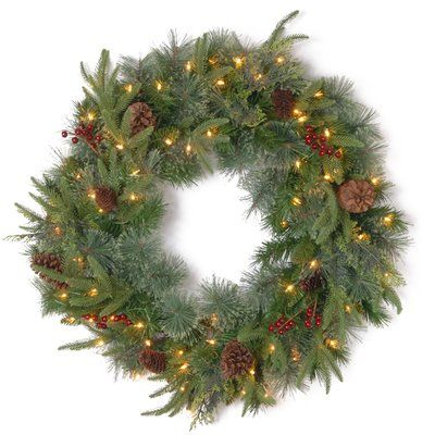 The Holiday Aisle Lighted Round Wreath Size 30 Artificial Christmas Wreaths Pre Lit Wreath Led Color Changing Lights