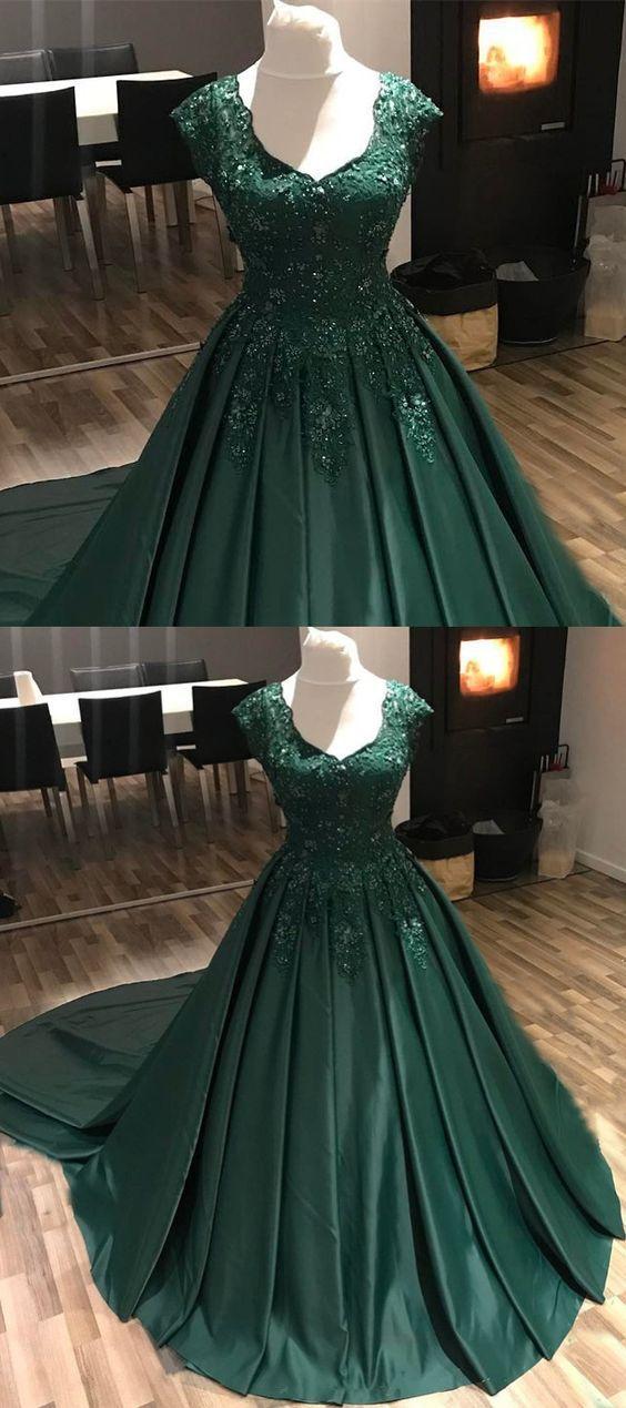 Dark Green Prom Dresses,Modest Prom Dresses,Green Quinceanera Dresses,Green Ball Gown Dresses,Green Wedding Dresses M2985