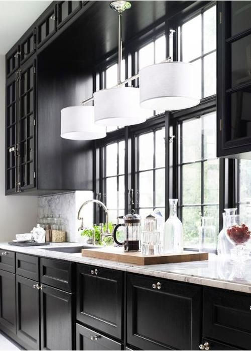 20 idées de cuisine noir et blanc Pinterest Interiors, Kitchens